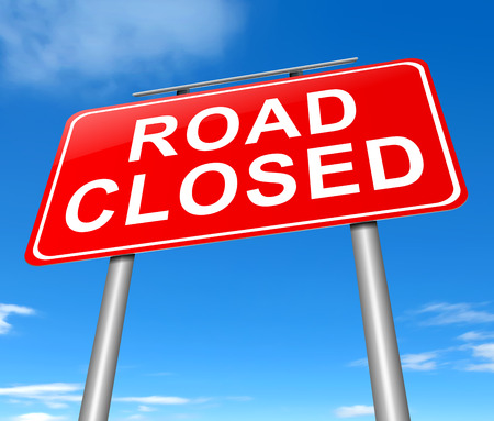 Illustration depicting a road closed sign with sky background.