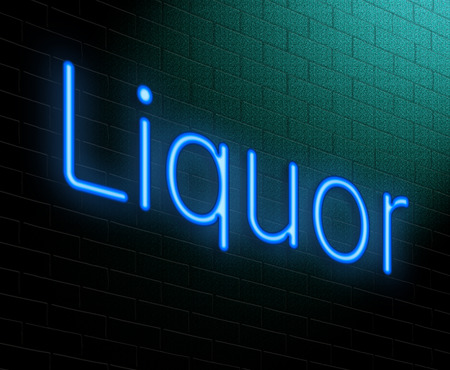Illustration depicting an illuminated neon sign with a liquor concept. illustration