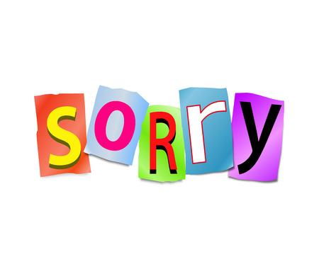 pardon: Illustration représentant un ensemble de lettres coupées formés pour organiser le mot désolé.
