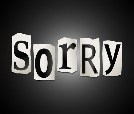 remorse: Illustration depicting a set of cut out letters formed to arrange the word sorry. Stock Photo