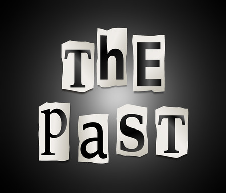 bygone: Illustration depicting a set of cut out letters formed to arrange the words The Past. Stock Photo