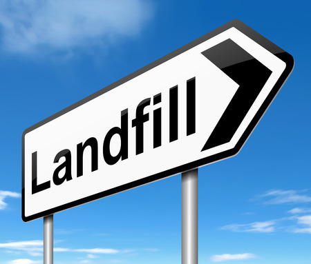 Illustration depicting a sign with a landfill concept. Stock Illustration - 22367937