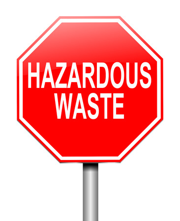 hazardous waste: Illustration depicting a sign with a hazardous waste concept.