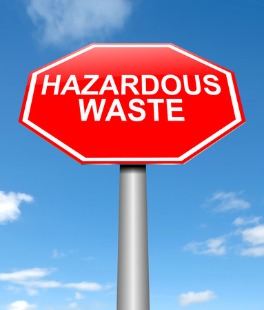 hazardous: Illustration depicting a sign with a hazardous waste concept.
