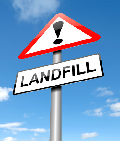 Illustration depicting a sign with a landfill concept. Stock Illustration - 22366700