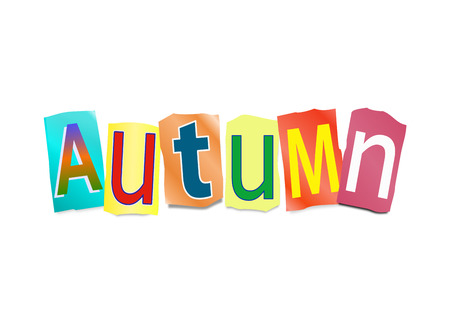 arrange: Illustration depicting a set of cut out letters formed to arrange the word Autumn.