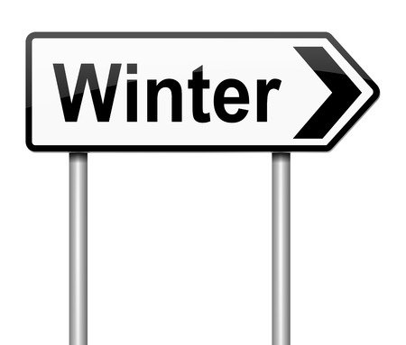 directing: Illustration depicting a sign directing to Winter.