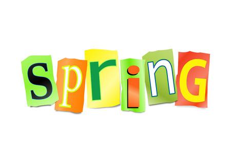 잘라내어 진 편지 세트를 묘사 한 그림 봄 단어를 정렬하기 위해 형성.