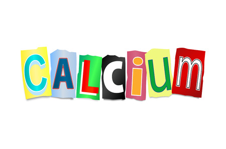 aiding: Illustration depicting a set of cut out letters formed to arrange the word calcium.