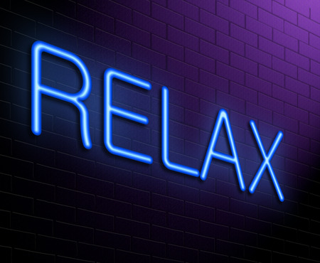 unwind: Illustration depicting an illuminated neon sign with a relax concept. Stock Photo