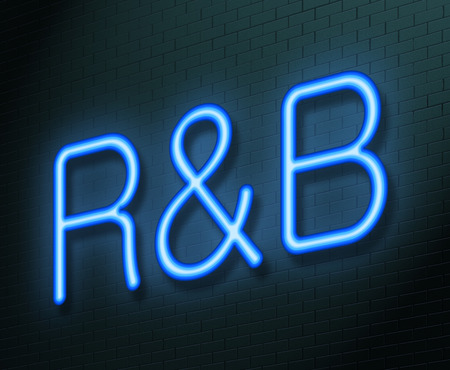 Illustration depicting an illuminated neon sign with an R&B concept.