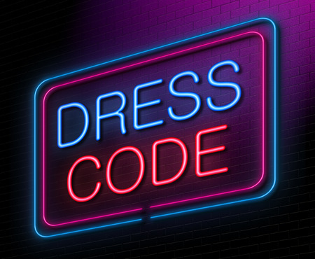 evening dresses: Illustration depicting an illuminated neon sign with a dress code concept.