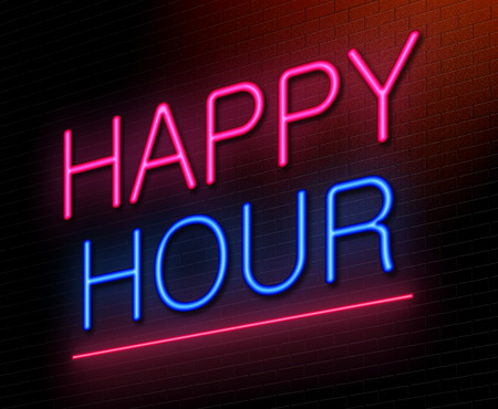Illustration depicting an illuminated neon sign with a happy hour concept. Stock Photo