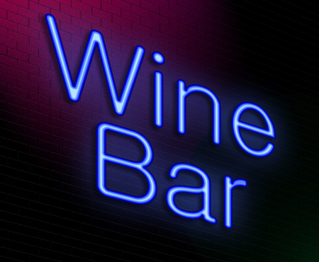 Illustration depicting an illuminated neon sign with a wine bar concept. illustration