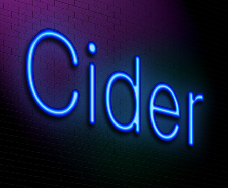 Illustration depicting an illuminated neon sign with a cider concept. illustration