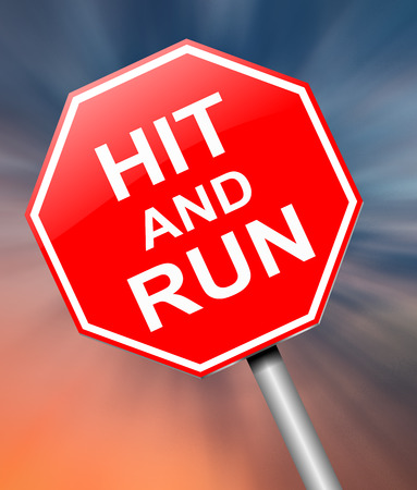 unlawful: Illustration depicting a sign with a hit and run concept.