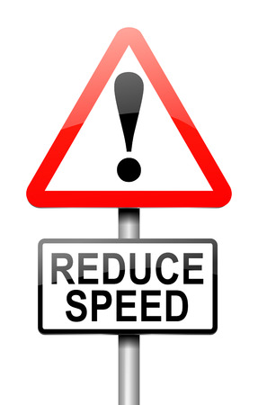 Illustration depicting a sign with a reduce speed concept.