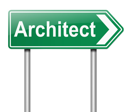 tradesperson: Illustration depicting a sign with an Architect concept.