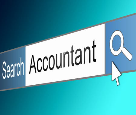 keeping: Illustration depicting a screen shot of an internet search bar containing an Accountant concept.  Stock Photo