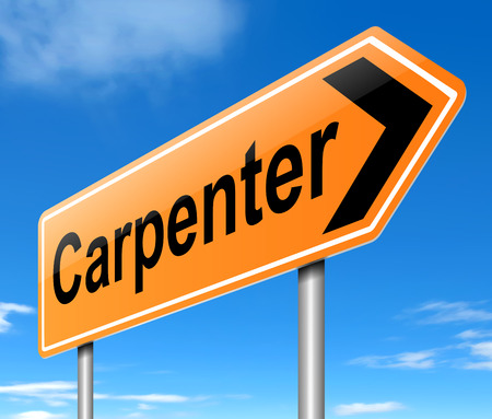 tradesperson: Illustration depicting a sign with a Carpenter concept.
