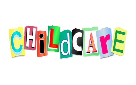 Illustration depicting cutout printed letters arranged to form the words childcare. Stock Photo