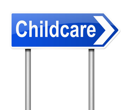 childcare: Illustration depicting a sign with a Childcare concept.
