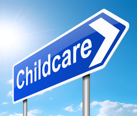 babysitting: Illustration depicting a sign with a Childcare concept.
