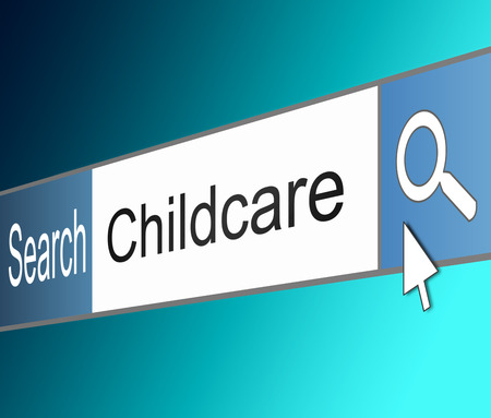 childcare: Illustration depicting a screen shot of an internet search bar containing a Childcare concept.