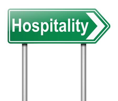 hospitality industry: Illustration depicting a sign with a Hospitality concept.
