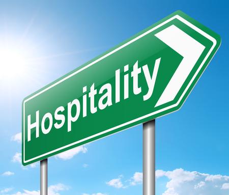 Illustratie geeft een bord met een Hospitality concept. Stockfoto