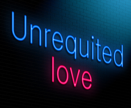 Illustration depicting an illuminated neon sign with an unrequited love concept.