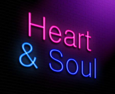unconditional: Illustration depicting an illuminated neon sign with a heart and soul concept. Stock Photo
