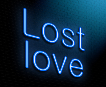 lost love: Illustration depicting an illuminated neon sign with a lost love concept.