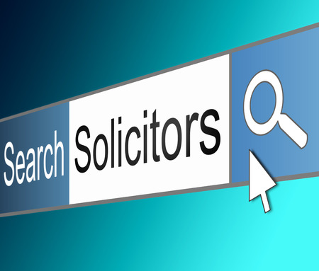 solicitor: Illustration depicting a screen shot of an internet search bar containing a Solicitor concept.