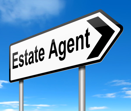for rent: Illustration depicting a sign with a Estate Agent concept. Stock Photo