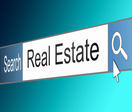 real estate agency: Illustration depicting a screen shot of an internet search bar containing a Real Estate concept.  Stock Photo