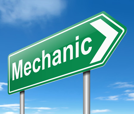 machine operator: Illustration depicting a sign with a Mechanic concept.