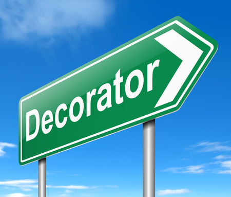 decorator: Illustration depicting a sign with a Decorator concept. Stock Photo