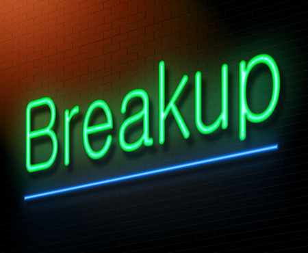 breakup: Illustration depicting an illuminated neon sign with a breakup concept. Stock Photo
