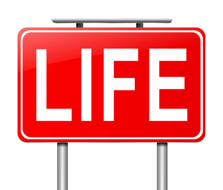 Illustration depicting a sign with a Life concept. Stock Photo