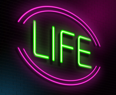 vivacity: Illustration depicting an illuminated neon sign with a life concept.