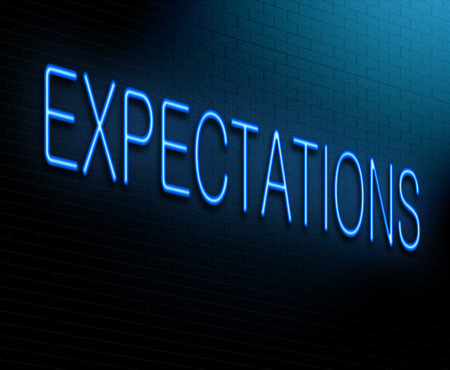 expectations: Illustration depicting an illuminated neon sign with an expectations concept.