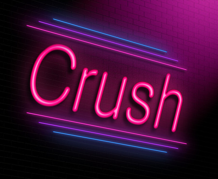 obsessed: Illustration depicting an illuminated neon sign with a crush concept. Stock Photo