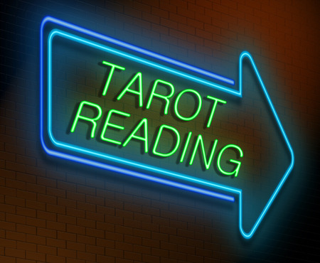 unexplained: Illustration depicting an illuminated neon sign with a tarot reading concept. Stock Photo