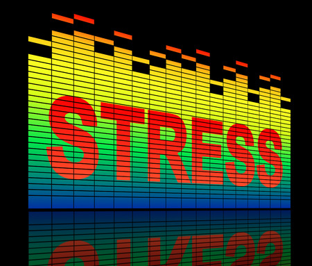 nervousness: Illustration depicting graphic equalizer bars with a stress concept.