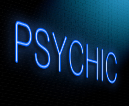 psychic: Illustration depicting an illuminated neon sign with a psychic concept.