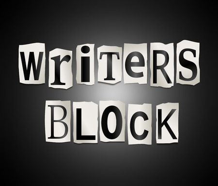 affliction: Illustration depicting a set of cut out printed letters formed to arrange the words writers block. Stock Photo