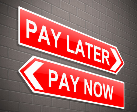 delaying: Illustration depicting a sign with a financial concept. Stock Photo