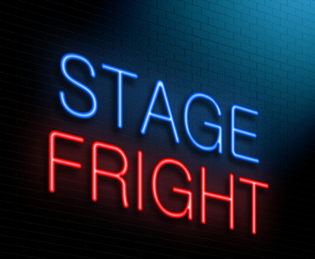 actors: Illustration depicting an illuminated neon sign with a stage fright concept.