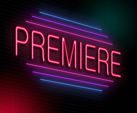 premiere: Illustration depicting an illuminated neon sign with a premiere concept. Stock Photo